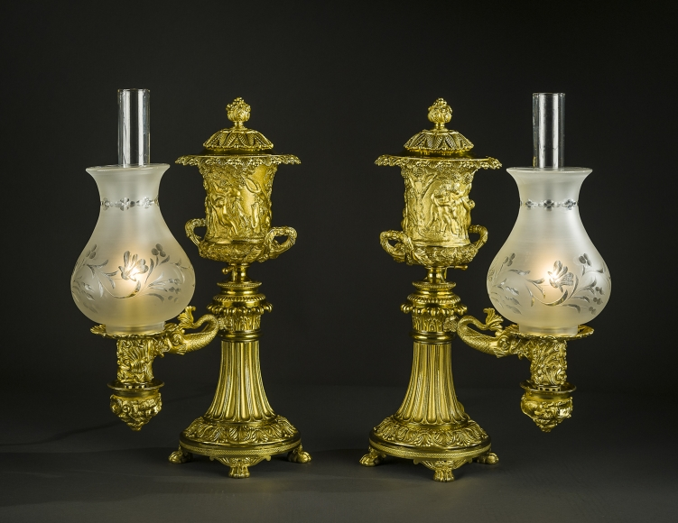 Pair Argand Lamps, About 1800u201320. Johnston Brookes U0026 Co., London Gilt  Bronze, With Lamp Mechanism, And With Glass Shades, Blown, Frosted And  Wheel Cut, ...