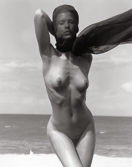 herb ritts female figure with veil hawaii