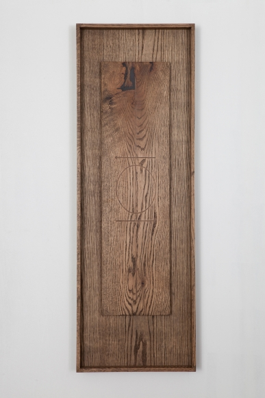 Young, Reliquary for a Declaration No. 1, 2015, oak with walnut inlay, 48 x 16 x 2 1/2 inches, Courtesy of Monique Meloche Gallery