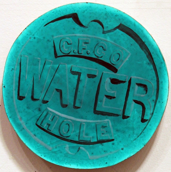 "Hannah Cole, Water, 2013, Acrylic on shaped birch panel, 10"" diameter, painting"
