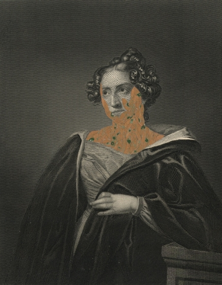 Kirsten Stolle, Mrs. John Pettigrew 1860/2014, from the series de-identified, 2014, ink and collage on 19th century engraving,7 1/2h x 5w in, Mined Media