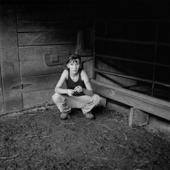 Kate in the Barn, PawPaw, Madison County, NC, 2014, Archival pigment print,  5 x 5 in, Edition of 10