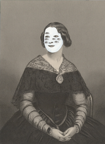 Kirsten Stolle, Mrs. Edgar Cahill 1860/2014, from the series de-identified, gouache and collage on 19th century engraving