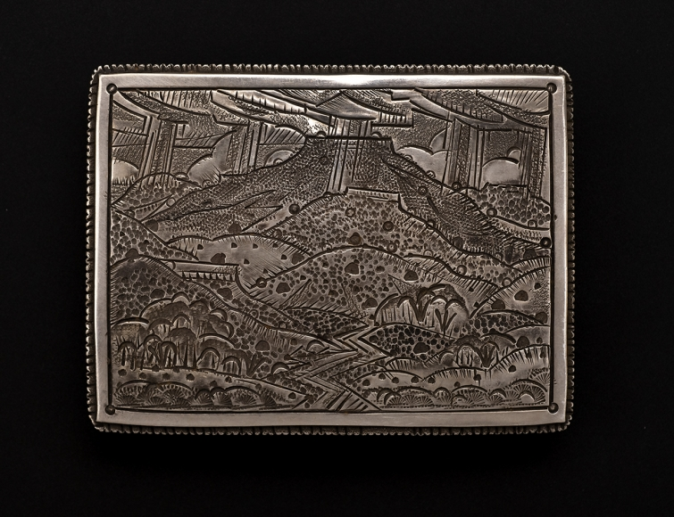 Pedernal Belt Buckle, stamped silver, 2 5/8 x 3 3/8 inches