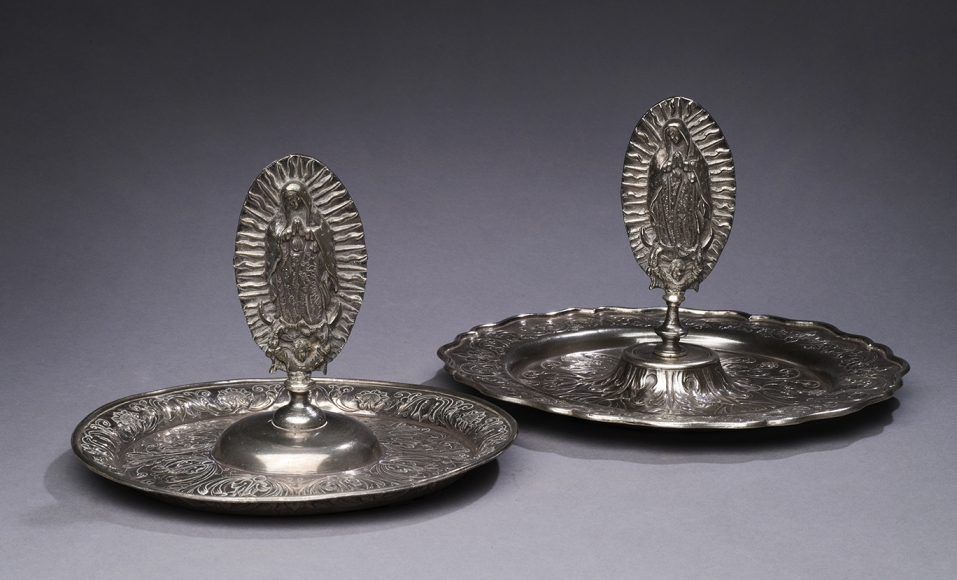 Virgen de Guadalupe Alms Trays, sterling silver, 7 x 9 1/4 inches