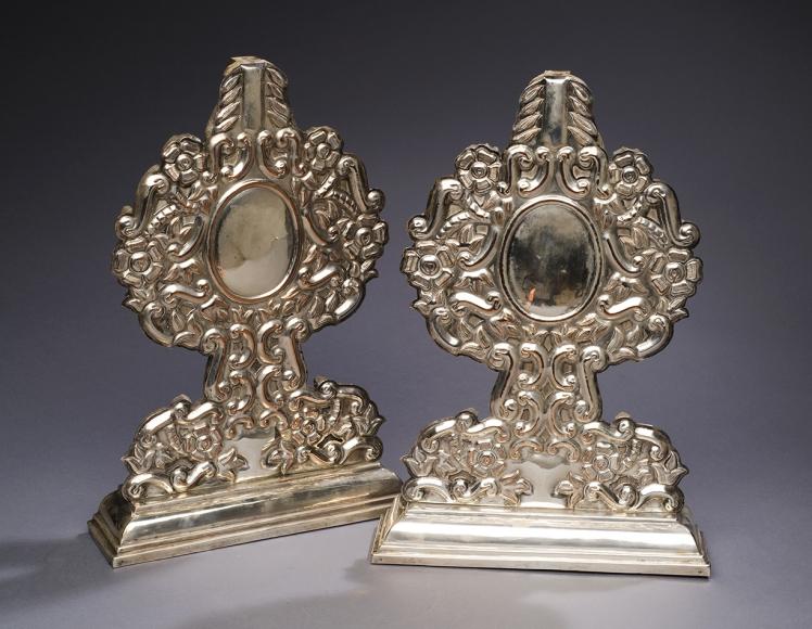 A Pair Silver Altar Pieces