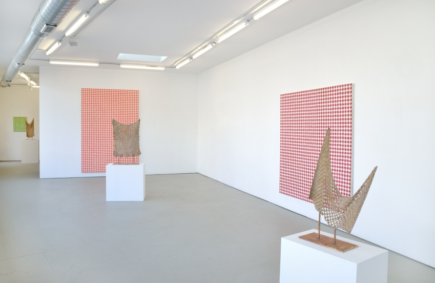 Installation View Exhibition of Paintings and Bronze Casts by Michelle Grabner of Wisconsin