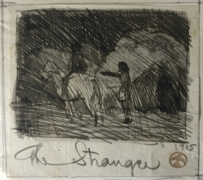 MAYNARD DIXON THE STRANGER INK SKETCH