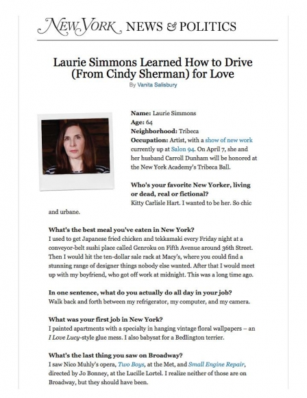 New York Magazine 21 Questions - Writing - Laurie Simmons