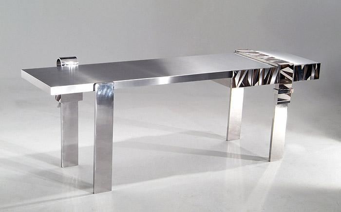 Stainless Steel Desk with Marquetry , 2005