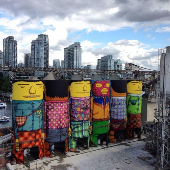 OSGEMEOS, Giants Mural on six concrete silos