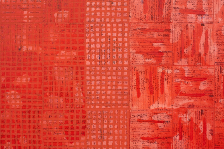 MCARTHUR BINION, Ink: Work (Vermillion) (detail), 2018