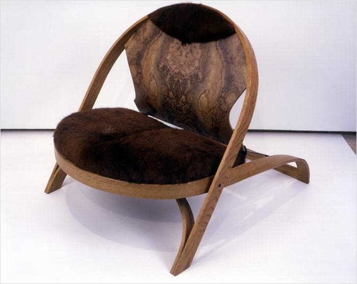 Chair/Chair, 1987-90 red oak, formica, cowhide and painted steel