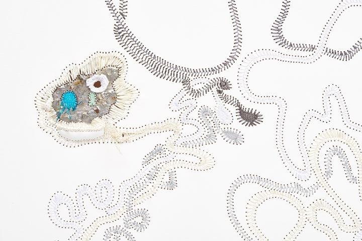 尼可拉斯·è³€ç¾…伯 Qhwanya(detail),2015 棉布 絲帶 焊絲