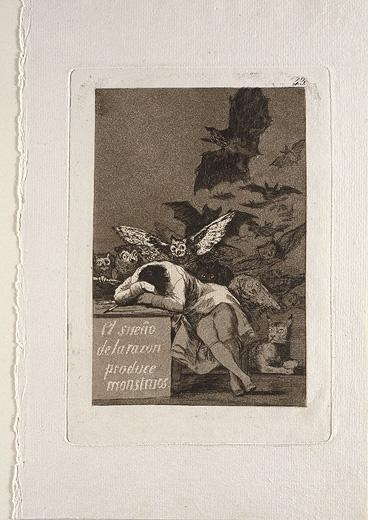Francisco de Goya y Lucientes, The Sleep of Reason Brings Forth Monsters, from the series Los Caprichos (plate 43 from Los Caprichos), 1797-98