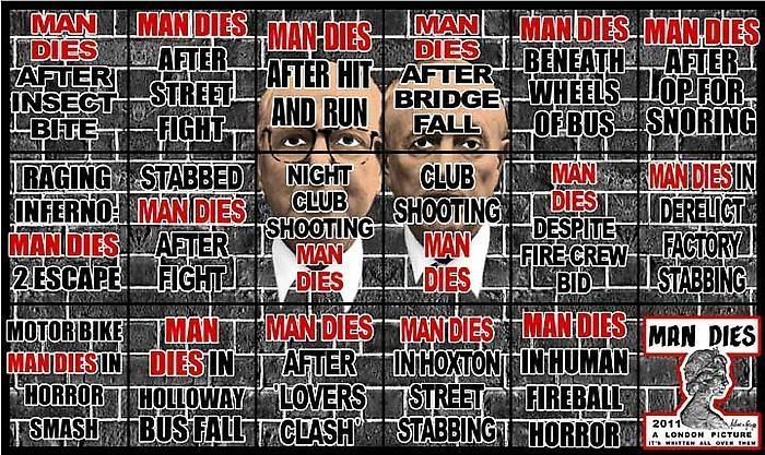 GILBERT & GEORGE, MAN DIES, 2011
