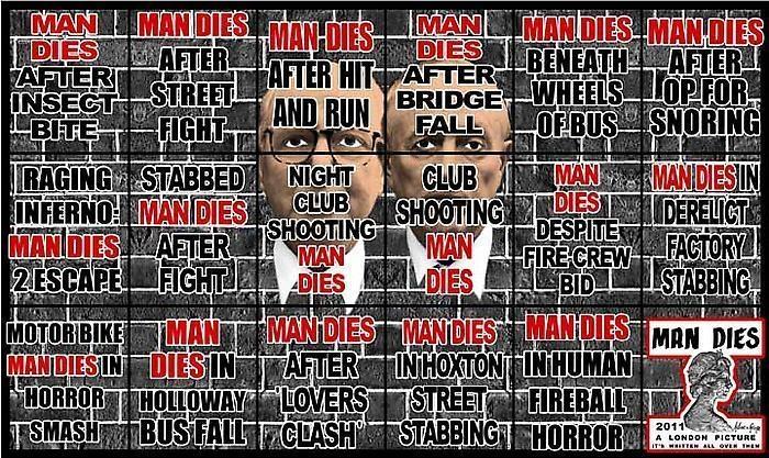GILBERT & GEORGE, MAN DIES, 2011