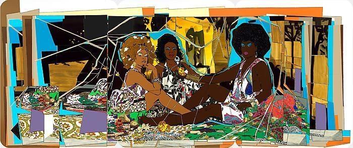 MICKALENE THOMAS Le déjeuner sur l'herbe: Les Trois Femmes Noires, 2009