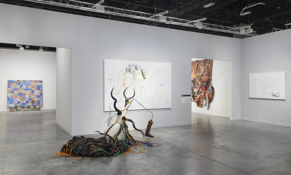 Installation view of Lehmann Maupin's booth at Art Basel Miami Beach 2018, view 4. Kabinett section featuring Nicholas Hlobo