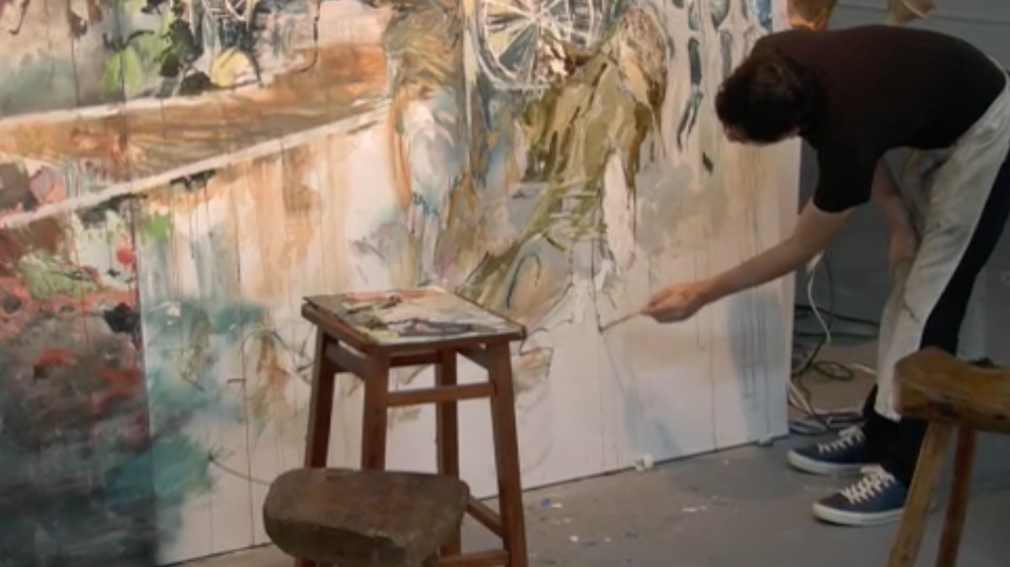 "This excerpt from ""miamiHeights"", a feature film profile of Hernan Bas directed by Wet Heat Project, captures the artist in his studio working on his large scale painting ""Ubu Roi (the war march)""."