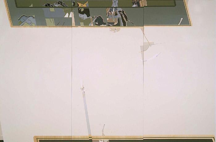 Whoa, 2000 acrylic on wood panel, triptych