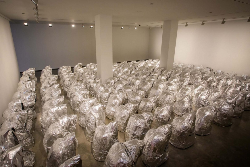 Kader Attia, Ghost, 2007/2017, installation view, Kader Attia, Museum of Contemporary Art Australia, Sydney, 2017, aluminium foil, courtesy the artist and Galerie Nagel Draxler, Berlin/Cologne, image courtesy the artist and Museum of Contemporary Art Australia © the artist, photograph: Anna Kučera