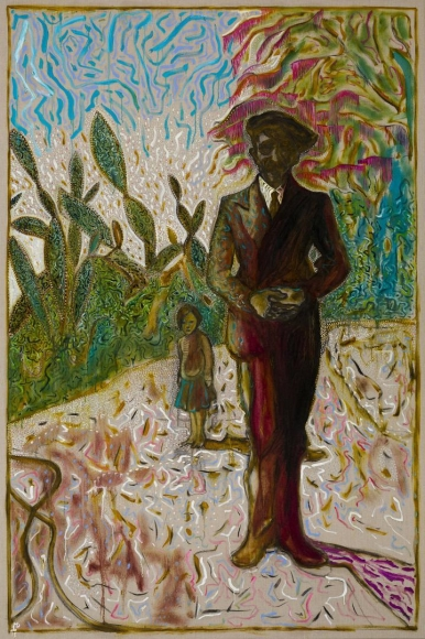 BILLY CHILDISH amongst cactus, 2013