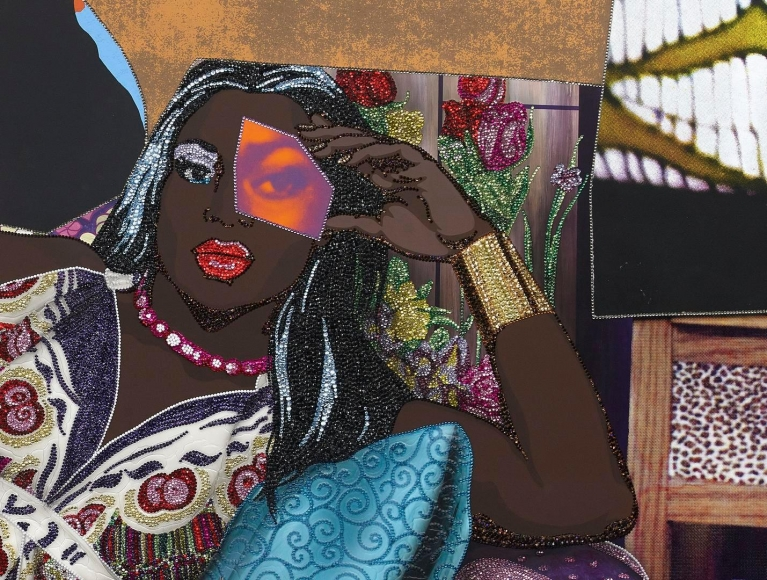 MICKALENE THOMAS, 	Qusuquzah Lounging with Pink + Black Flower (detail), 2016