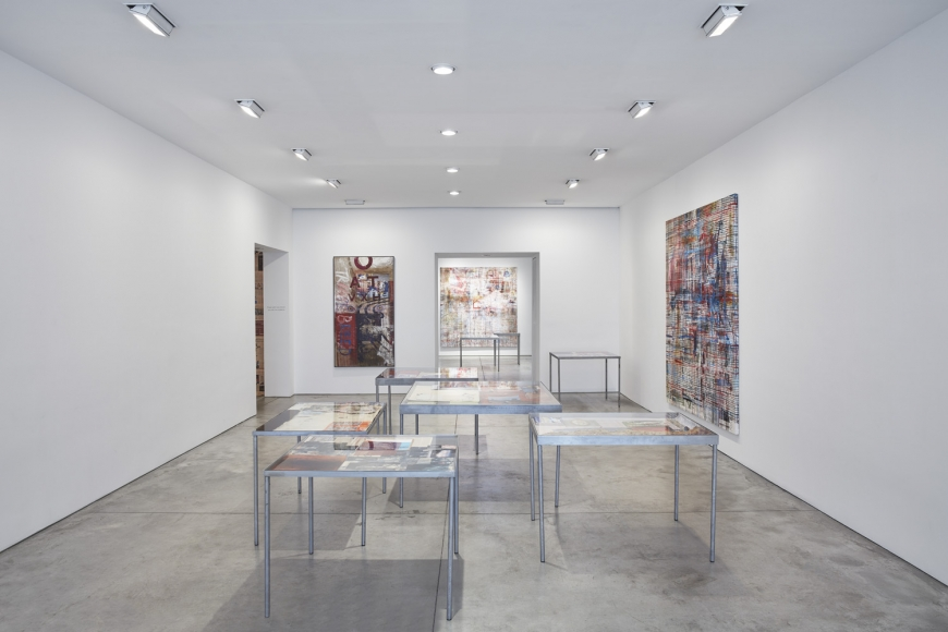 Mandy El-Sayegh, MUTATIONS IN BLUE, WHITE AND RED, Installation view at Lehmann Maupin, New York