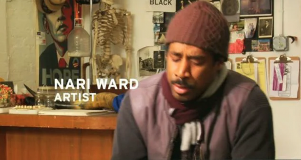 LM ARTIST VIDEO SERIES: NARI WARD, 2010, Get an exclusive look inside Nari Ward's first solo exhibition at Lehmann Maupin Gallery, LIVESupport, in our third edition of LM Artist Video Series, featuring commentary from Jeremy Kost, Eungie Joo, Philippe Vergne and an in-studio interview with the artist himself. This video highlights Ward's unique sensibility and the magnetic draw and subtle danger embedded in the perception of his work.