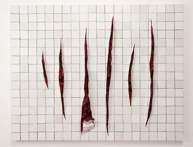 ADRIANA VAREJÃO Parede com Incisões a la Fontana - Istanbul, 2011 oil on canvas and polyurethane on aluminum and wood support 37.4 x 47.24 inches 95 x 120 cm