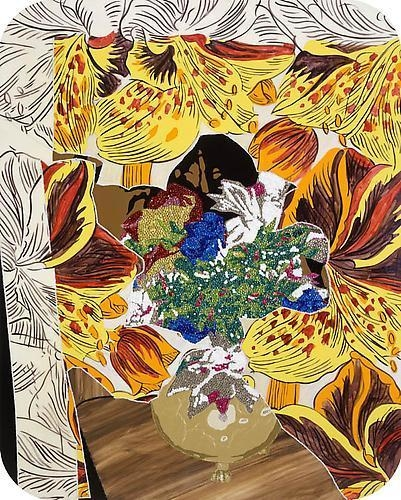 MICKALENE THOMAS Still life with flowers on flower, 2009