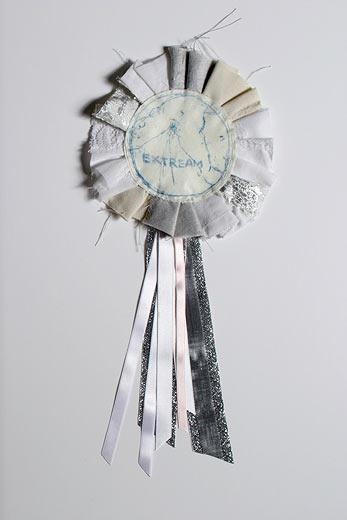 Extream, 2005 monoprint on calico, ribbons and fabric