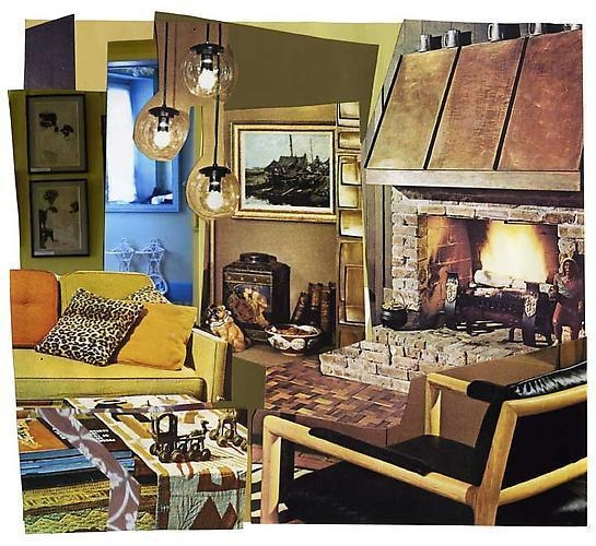 MICKALENE THOMAS Interior: Yellow Couch, Blue Foyer, and Fireplace, 2011