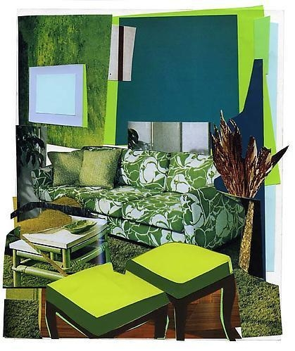 MICKALENE THOMAS Interior: Green and White Couch, 2011