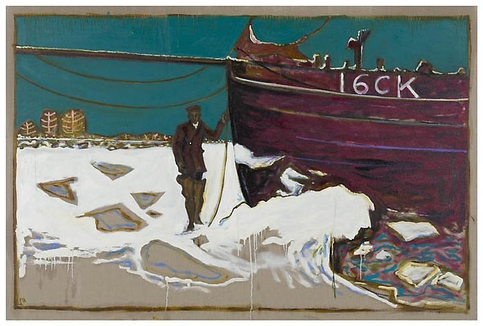BILLY CHILDISH Frozen Estuary – Oyster Smack, Caroline, 1947 (violet series), 2012