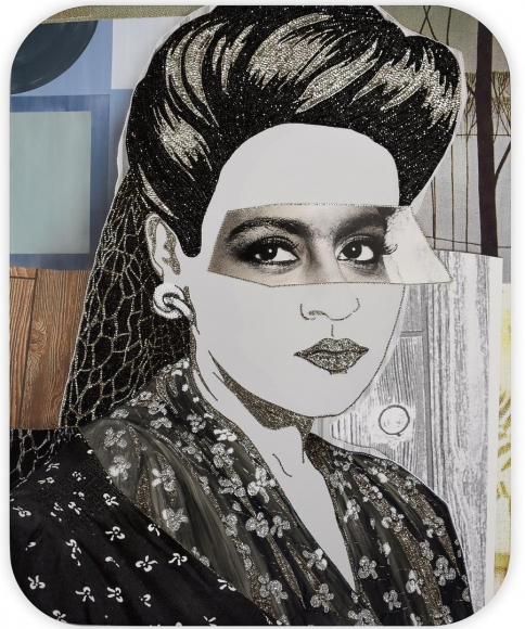 MICKALENE THOMAS Clarivel with Black Blouse and White Ribbon, 2016
