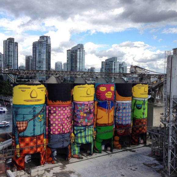 OSGEMEOS, Giants, Mural on six concrete silos
