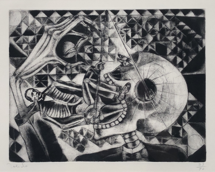 Francisco Toledo                   Juarez Fishing in the Orbit of the Skull, 1988