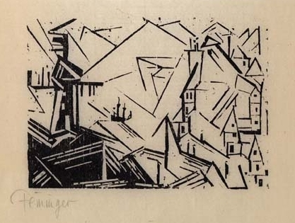 Harbor with Windmill and Lighthouse woodcut by Lyonel Feininger