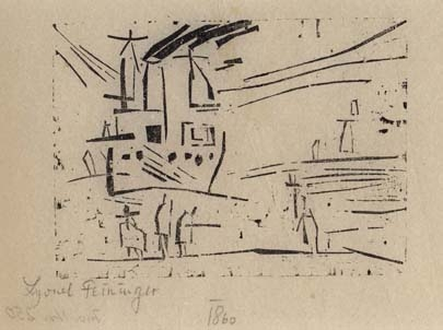 Outbound Steamer Odin woodcut by Lyonel Feininger