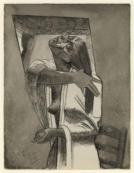 Julio Gonzalez, Femme à la longue chevelure, 1940, Pen, ink and wash on paper, 12 3/8 x 9 ½ in. (31.4 x 24.1 cm)