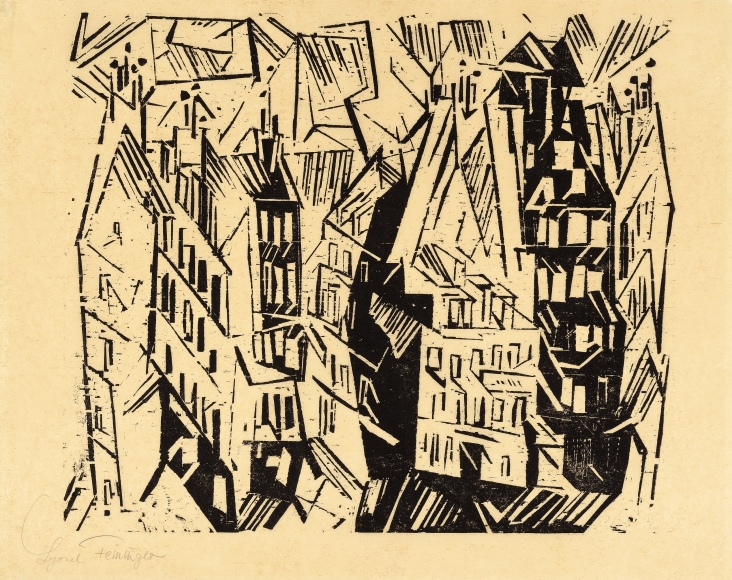 Lyonel Feininger (1871-1956), Pariser Hauser (Paris Houses), 1918, Woodcut on yellow Kozo paper, 8 3/4 x 15 3/16 in. (22.2 x 38.6 cm), Signed lower left: Lyonel Feininger, Estate stamp lower right