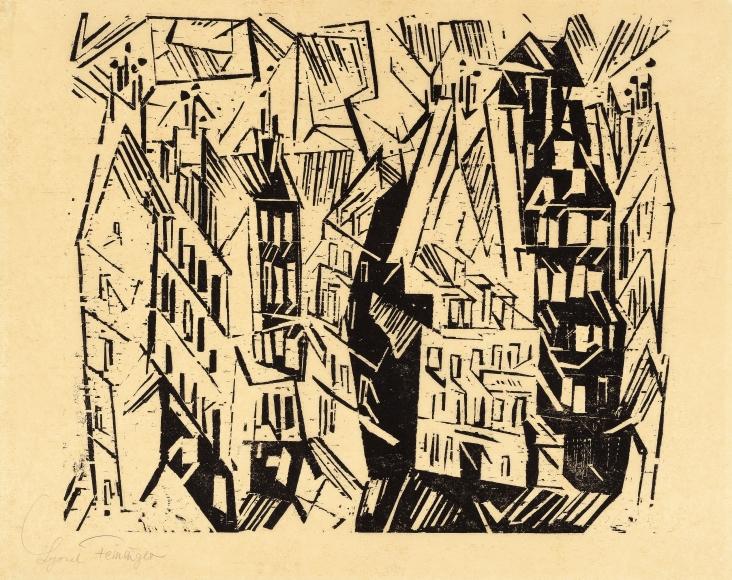Lyonel Feininger (1871-1956), Pariser Hauser (Paris Houses), 1918, Woodcut on yellow Kozo paper, 8 3/4 x 15 3/16 in. (22.2 x 38.6 cm), Signed lower left: Lyonel Feininger, Estate stamp lower right