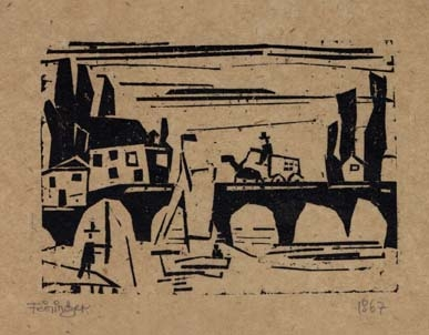 Wagon Crossing a Bridge woodcut by Lyonel Feininger