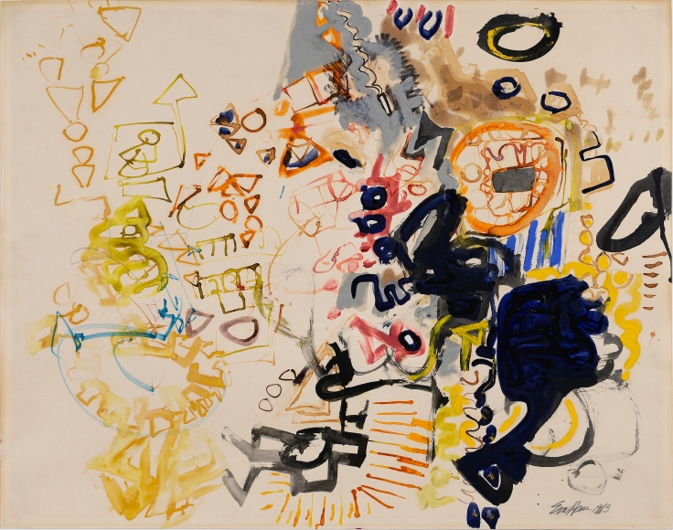 Eva Hesse, Untitled, 1963, Watercolor and ink on paper, 22 ¼ x 28 in. (56.5 x 71 cm)