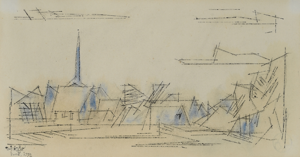 """Lyonel Feininger (1871-1956), (Village), 1952, Watercolor and ink on paper, 7 1/2 x 13 3/4 in. (19.1 x 34.9 cm), Signed and dated lower left: Feininger June, 1952, Inscribed verso: In old-time Remembrance, to Alli, from his old """"Papilep"""" L.F., Aug. 26th 1952"""