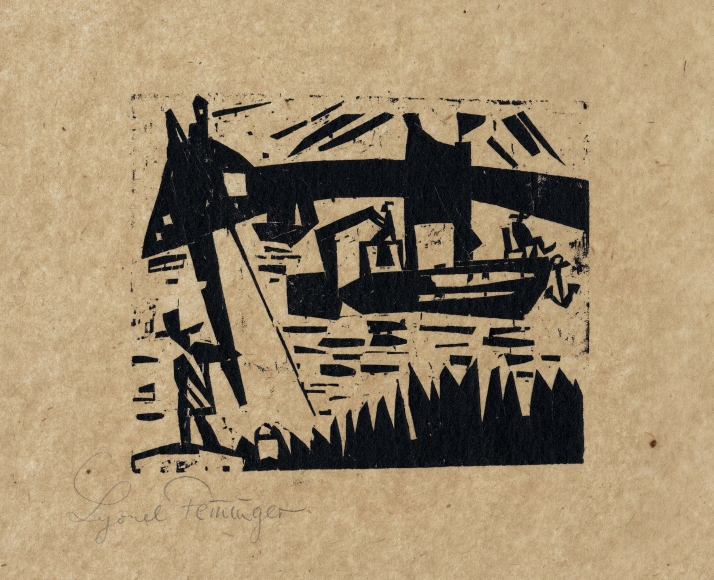 Angler with Canal Boat woodcut by Lyonel Feininger