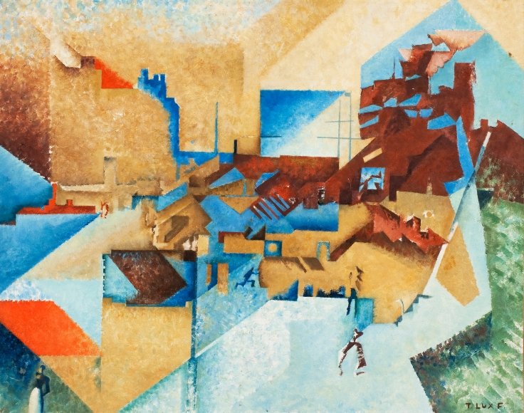 T. Lux Feininger (1910-2011), Cubist Picture (Dedicated to Juan Gris), 1974, oil on board, 19 x 24 in. (48.3 x 61 cm), Signed lower right: T Lux F, Signed, dated, titled, and dedicated on verso: T Lux Feininger 1974 Cubist Picture (dedicated to Juan Gris)