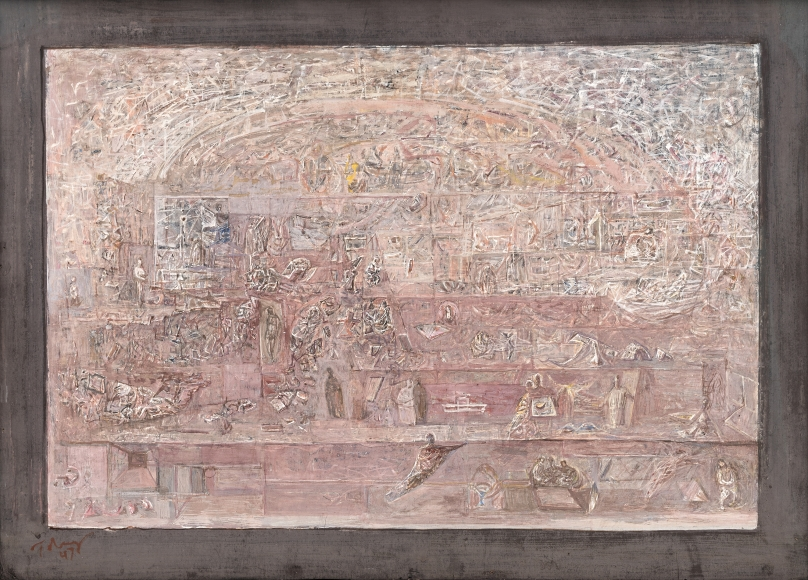 Mark Tobey, Arena of Civilization, 1947, Tempera on board, 14 x 19 1/2 in. (35.56 x 49.53 cm), Signed and dated lower left: Tobey / 47, Inscribed verso: Arena of Civilizations